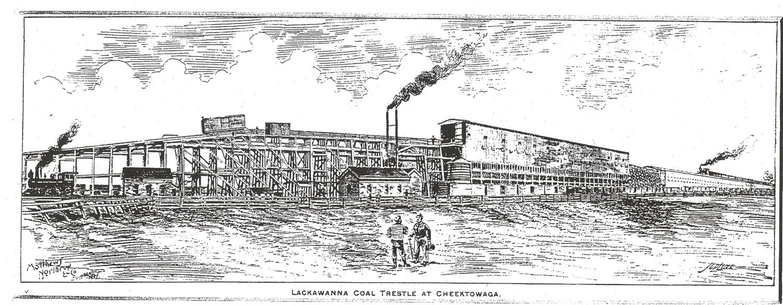 Lackawanna Coal Trestle at Cheektowaga 1800's (still visible behind Highway Dept)